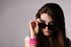 Beauty sexy woman with glasses Stock Images