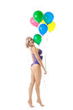 Beauty sexy woman in lingerie with balloons Stock Photography