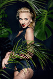 Beauty sexy woman makeup jungle palm sun tan shadows beach Stock Photography