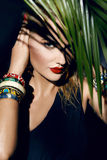 Beauty sexy woman makeup jungle palm sun tan shadows beach Stock Photos