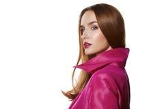 Beauty sexy woman makeup lips glam pink cloak Royalty Free Stock Photos