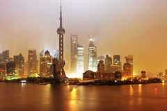 The beauty of the Shanghai pudong skyline at sunset. Shanghai pudong skyline at sunset Royalty Free Stock Photo