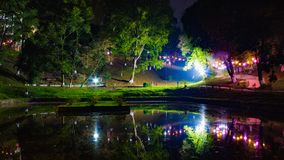 Beauty of Shillong with reflecting illumination lights on the Shillong's 3rd India International Cherry Blossom Festival 2018 at royalty free stock image