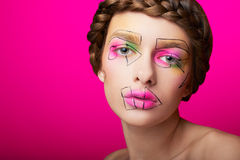Beauty shooting with cubism makeup Royalty Free Stock Photography