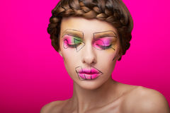 Beauty shooting with cubism makeup Stock Photo