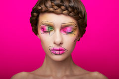 Beauty shooting with cubism makeup Royalty Free Stock Images
