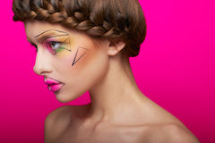 Beauty shooting with cubism makeup Royalty Free Stock Image