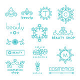 Beauty shop cosmetic industry linear vector icons royalty free illustration