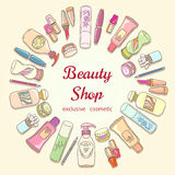 Beauty shop cosmetic label doodle vector frame Royalty Free Stock Image