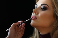 Beauty shop. Make up. Hand of stylist paints lips with a brush to client. Royalty Free Stock Photography