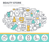 Beauty and shopping concept illustration. Stock Photos