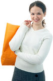Beauty shopping woman with bag Royalty Free Stock Photos