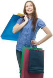 Beauty shopping woman with clored bags Stock Photography