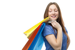 Beauty shopping woman with clored bags Stock Photos