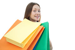 Beauty shopping woman with clored bags Royalty Free Stock Photography