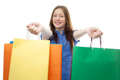 Beauty shopping woman with clored bags Stock Photo