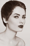 Beauty with short haircut Royalty Free Stock Photo