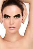 Beauty shot artistic smoky eye on beautiful model Royalty Free Stock Photos