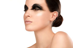 Beauty shot artistic smoky eye on beautiful model Royalty Free Stock Image