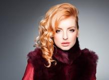 Beauty portrait of beautiful blonde woman wearing professional make-up stock photo