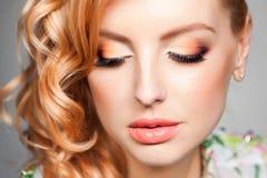 Close-up of professional eye make-up on beautiful blonde woman Stock Image