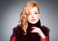 Beauty portrait of beautiful blonde woman wearing professional make-up stock images