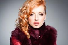 Beauty portrait of beautiful blonde woman wearing professional make-up royalty free stock photo