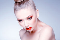 Beauty shot of beautiful blonde woman wearing professional make-up Stock Photos