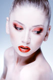 Beauty shot of beautiful blonde woman wearing professional make-up Stock Photography