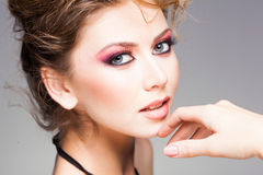 Beauty shot of beautiful blonde woman wearing professional make-up Royalty Free Stock Image