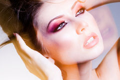 Beauty shot of beautiful blonde woman wearing professional make-up Stock Image