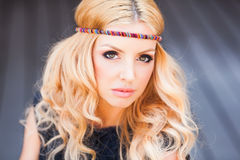 Beauty shot of beautiful hippie blonde woman Royalty Free Stock Images