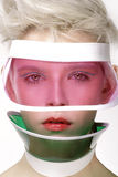 Beauty shot blond perfect young model wear pink visor Royalty Free Stock Image