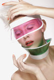 Beauty shot blond perfect young model wear pink visor Stock Photos