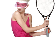 Beauty shot blond perfect young model wear pink visor Royalty Free Stock Photo
