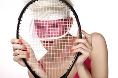 Beauty shot blond perfect young model wear pink visor Royalty Free Stock Images