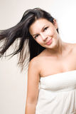 Beauty shot of brunette with flowing hair. Stock Photos