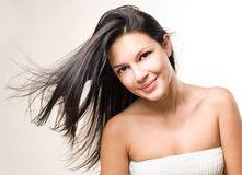 Beauty shot of brunette with flowing hair. Royalty Free Stock Photos