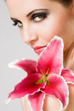 Beauty shot with colorful lily. Stock Photo