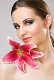 Beauty shot with colorful lily. Royalty Free Stock Photos