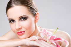 Beauty shot with colorful lily. Stock Image