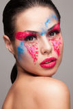 Beauty shot of faceart visage Stock Photography
