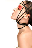 Beauty shot of model with artistic red make makeup an styling Stock Photos