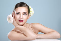 Beauty Shot Of Smiling Woman With Flowers Accessories Stock Photo