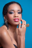 Beauty shot of a pretty young black woman royalty free stock photos