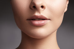 Beauty shot for spa salon. Close-up portrait beauty woman. Natural lip closep. and full lips. Clean skin.  royalty free stock photography