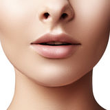 Beauty shot for spa salon. Close-up portrait beauty woman. Natural lip closep. and full lips. Clean skin.  stock photo