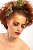 Beauty shot woman in autumn makeup Royalty Free Stock Photos