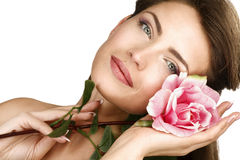 Beauty shot of woman with a beautiful rose Royalty Free Stock Photos