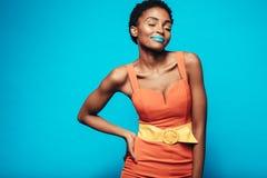 Beauty shot of woman with vibrant makeup Stock Photos